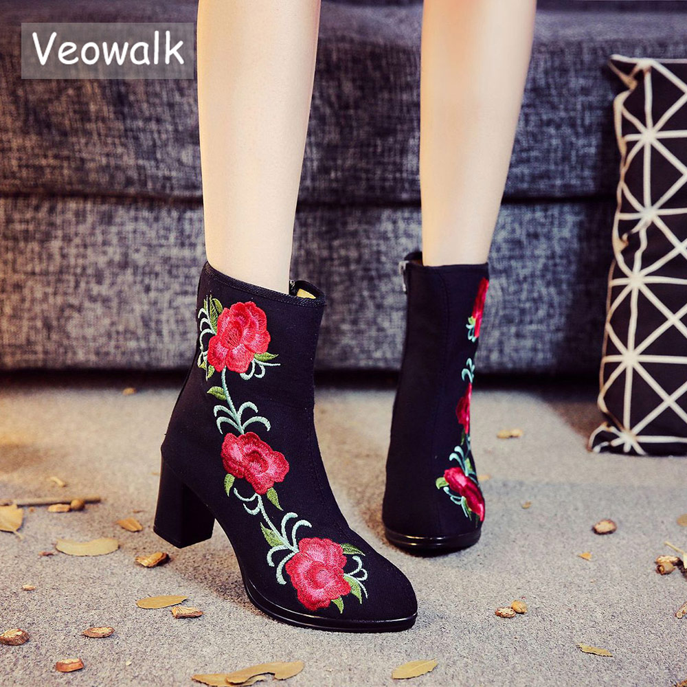 Veowalk High End Floral Embroidered Women Cotton Short <font><b>Ankle</b></font> <font><b>Boots</b></font> Ladies Casual <font><b>Block</b></font> High <font><b>Heel</b></font> Pumps Shoes for Elegant Ladies image