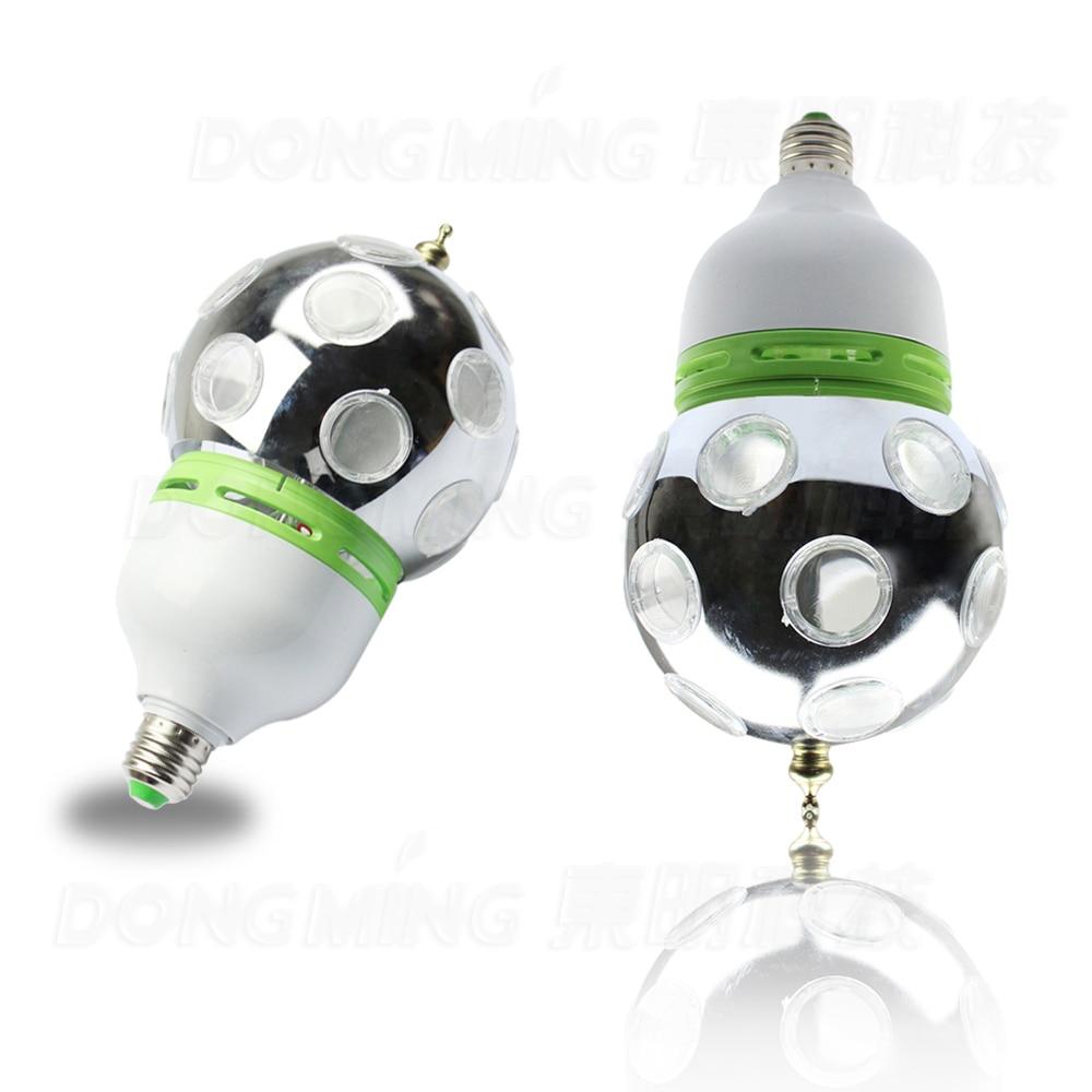 Free Shipping Auto Rotative Stage lights Full Color 1W E27 RGB LED Mini Stage Light DJ Light Disco light Bulb Lamp