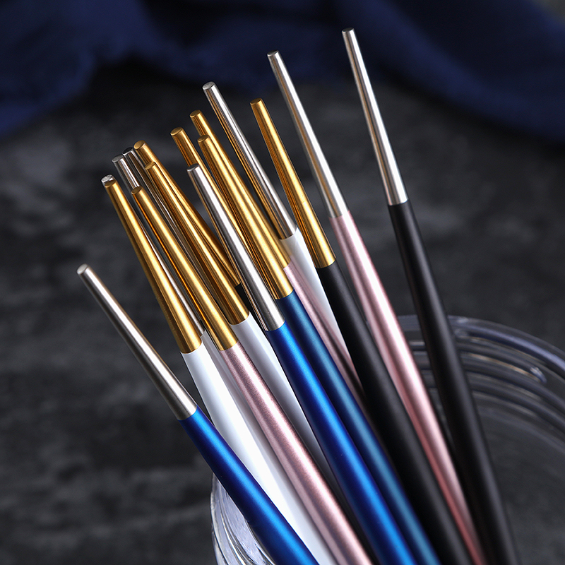 ROXY 5Pairs lot Japanese Korean Chinese Chopsticks Black Gold Stainless Steel Sushi Chopstick Length 22cm Drop Shipping in Chopsticks from Home Garden