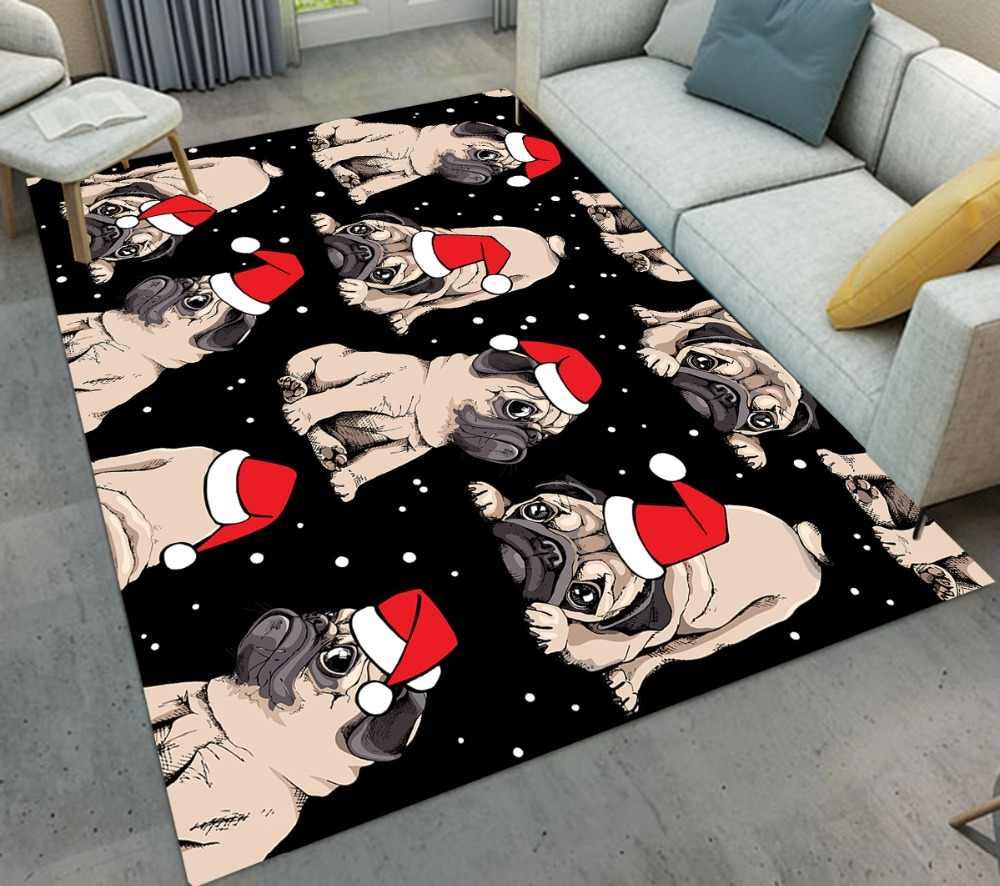 เด็กการ์ตูน Pug Dog หมวกคริสต์มาสพรมและพรมสำหรับ Baby Home ห้องนั่งเล่นสีดำขนาดใหญ่ห้องครัวห้องนอนชั้นเสื่ออาบน้ำ