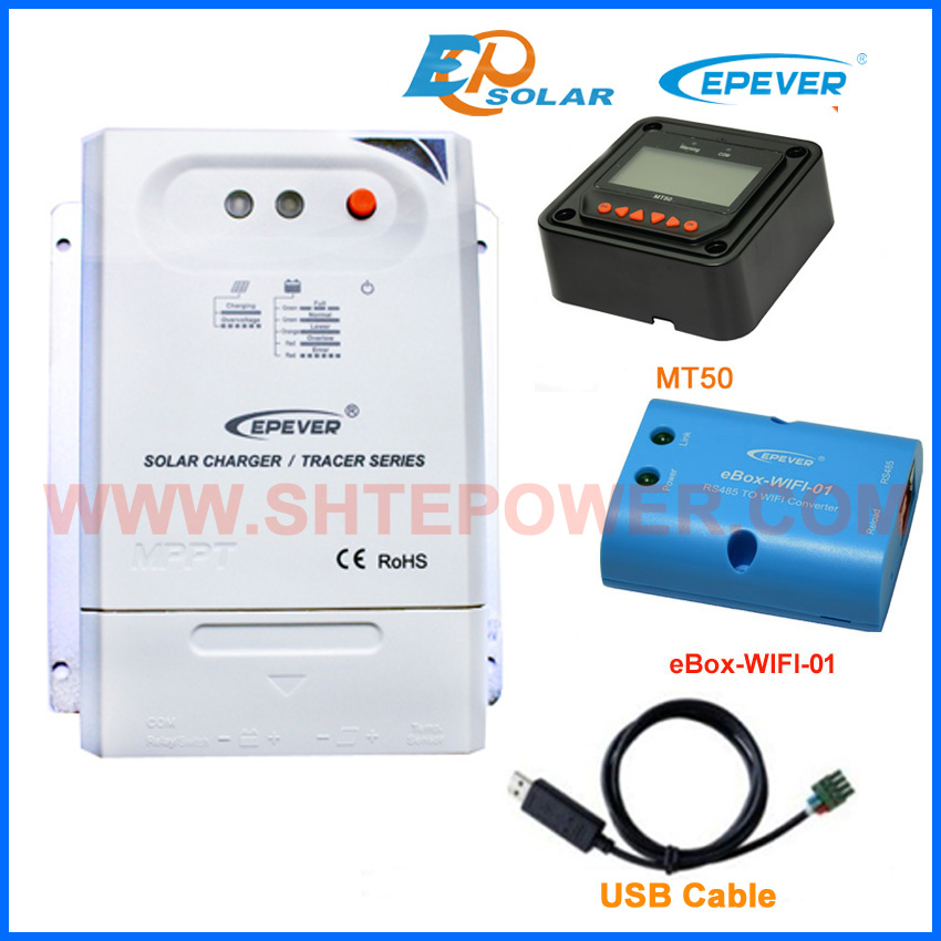 EPEVER MPPT Tracer2210CN 20A 20amp solar panel system controller with wifi BOX regulator USB cable MT50 remote meter epever mppt tracer2210cn 20a 20amp solar panel system controller with wifi box regulator usb cable mt50 remote meter