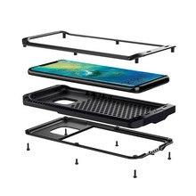כבד החובה הגנה אבדון שריון מתכת אלומיניום מקרה טלפון עבור Huawei Mate 20 פרו P30 פרו מקרים עמיד הלם Dustproof כיסוי