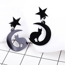 2018 new fashion design white black pink sailor moon earring cute girl cat star earring for women moon jewelry ear accessories(China)