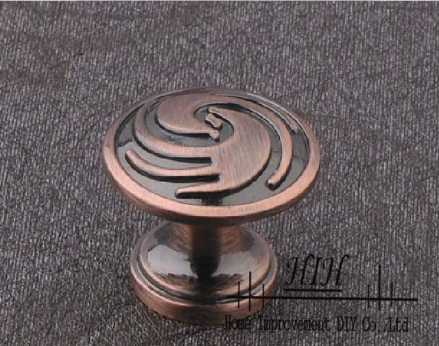 Free Shipping 30 X Cabinet Handles Oil Rubbed Red Bronze Cupboard Knobs and Pulls The Classical Furniture Handles Round
