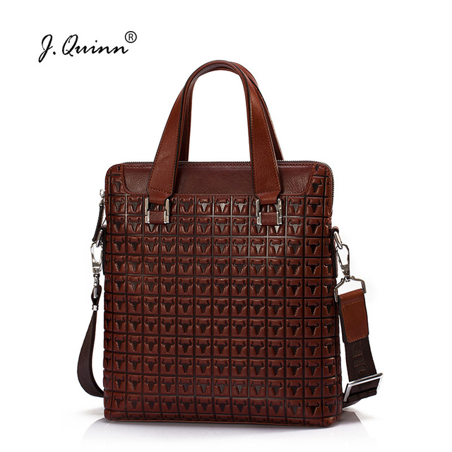 J.Quinn Business Leather Briefcases Bags Male Female Genuine Leather Men Handbag Women Casual Print Retro Red Shoulder Bag Brand
