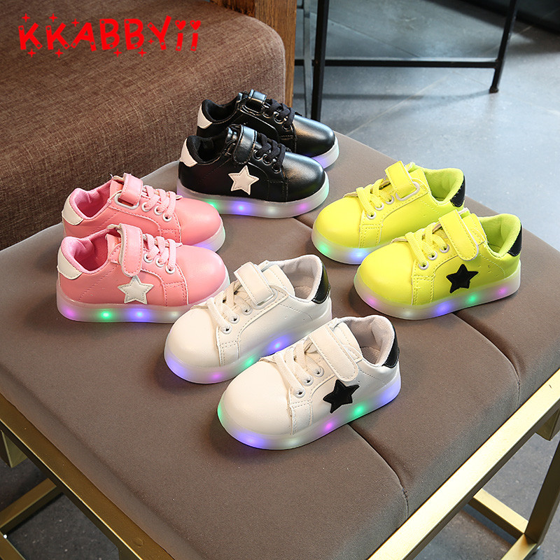 KKABBYII Led Girls Shoes Spring/Autumn Lighted Stars Breathable Fashion Baby Girls Sneakers Kids Shoes Chaussure Led Enfant