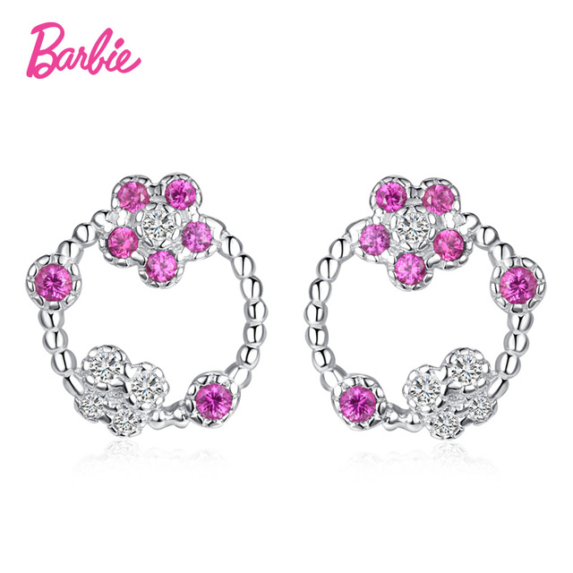 Barbie Earrings Round Silver Color Rose Red Stone For Women Vintage Earring Gift