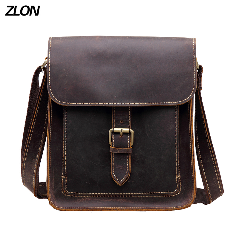 ZLON Casual Men 100% Crazy Horse Leather Vintage Zipper Single Laptop - Bolsos