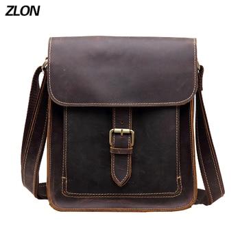 ZLON Casual Men 100% Crazy Horse Leather Vintage Zipper Single Laptop Messenger Shoulder Attache Portfolio Fashion Flap Bag T103