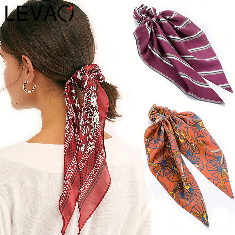 LEVAO Floral Print Scrunchie Women Hair Scarf Elastic Bohemian Hairband Bow Hair Rubber Ropes Girl Hair Ties Fashion Accessories