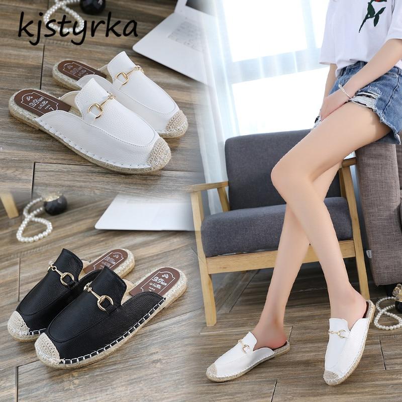 Kjstyrka 2018 Brand designer women mules ladies fashion metal decoration flats loafers shoes comfortable slides zapatos mujer все цены