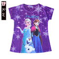 KW Brand 2-5T Girls Clothing Summer Polyester Elsa Girls T-shirts Kids Clothes Top&Tees for Girls