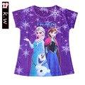KW Marca de barra de 2-5 T Niñas Ropa de Poliéster Verano Elsa Chicas Camisetas Ropa de Los Niños Top y Camisetas para Niñas