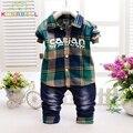 Мода весна дети мальчики одежда устанавливает клетчатую рубашку джинсы для девочки случайный спортивный костюм малыша babys одежды дети дизайнер L133