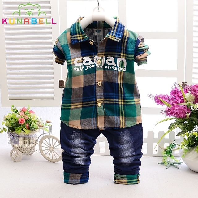 Fashion spring children boys clothing sets plaid shirt jeans for girls casual sport suit toddler babys clothe kids designer L133