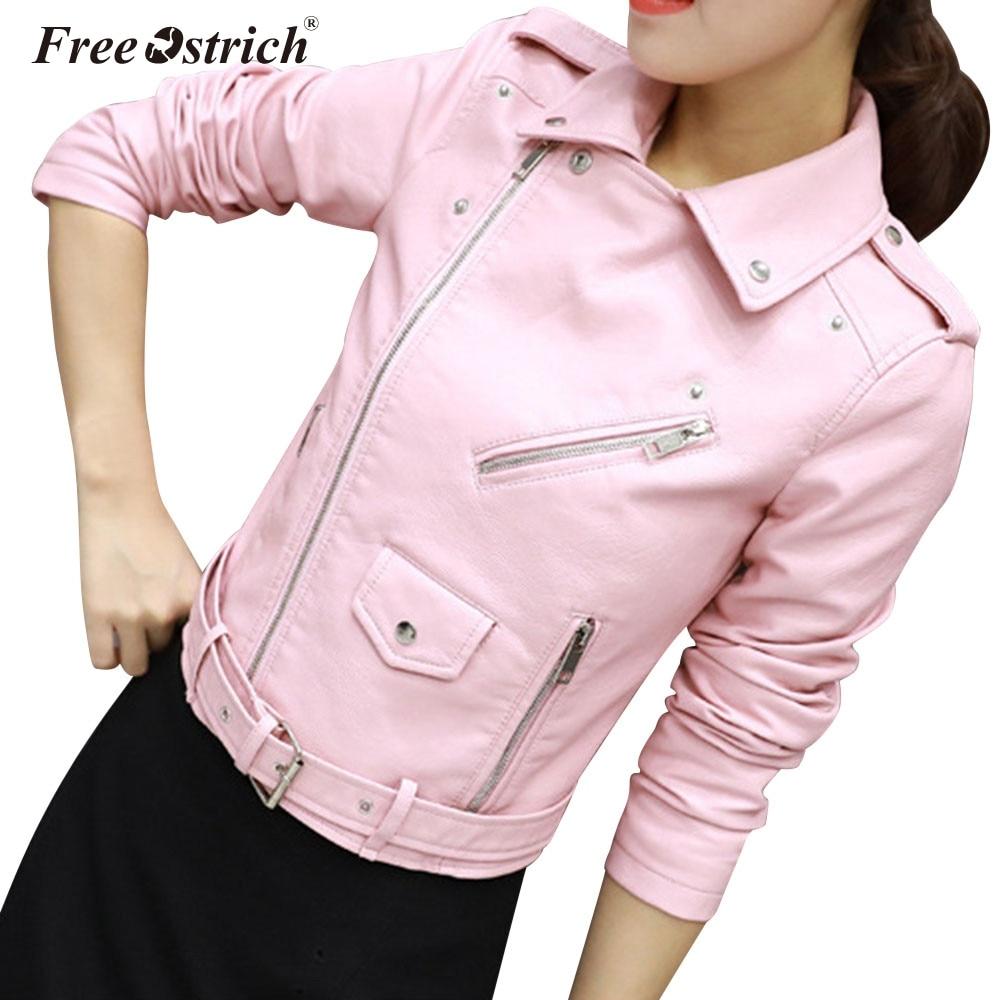 Free Ostrich Jacket Women Autumn 2019 Pu Zipper Turn-Down Collar Long Sleeve   Leather   Jacket Abrigos De Mujer Elegantes N30