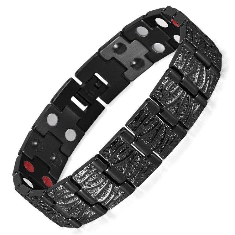 Bijoux accessoires explosifs transfrontaliers noir galvanoplastie aimant main bijoux en acier inoxydable Bracelet pour hommes