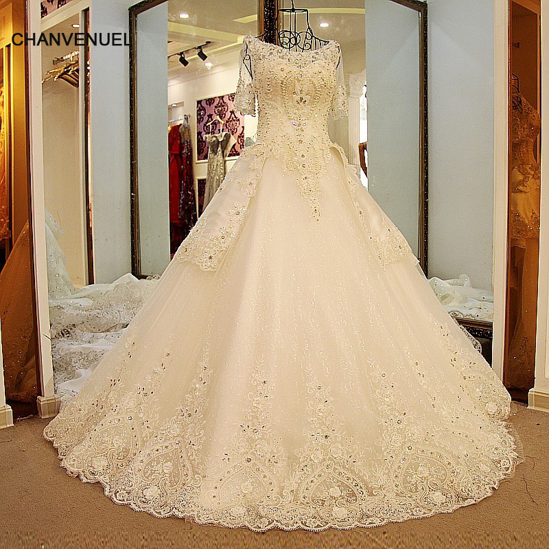 LS54420 Glitter Wedding Dresses Short Sleeves Lace Up Back