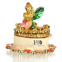 H&D Trinket Box Hinged Hand-painted Patterns Jeweled Collectiable Figurines Gifts for Birthday Christmas (angel trinket)