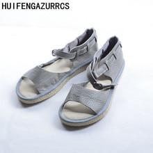 HUIFENGAZURRCS- Տիկնայք ամառային սանդալներ, կանանց ձեռքի աշխատանքներ, ռետրո արվեստով mori աղջիկ հարմարավետ իրական կաշվե կոշիկ, 3 գույն