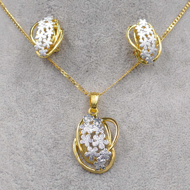 Sunny Jewelry Fashion Jewelry 2019 Jewelry Sets For Women Necklace Earrings Pendant Hollow Out For Party Luxury Dubai Jewelry