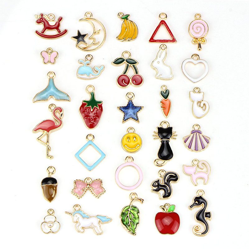 30PCS/set Animals Fruit Cat  Leaf Mixed Enamel Beads Pendants Charms Craft DIY Jewelry Findings(China)