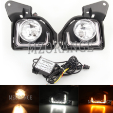 Day Light 2Pcs LED 12V Car-stlying Fog Lamp DRL Daytime Running Light For Toyota Hiace 2014 2015 2016 2017 2018 with Turn Signal sunkia car led drl daytime running light with fog lamp hole for mitsubishi asx 2013 2015 white light amber turn signal