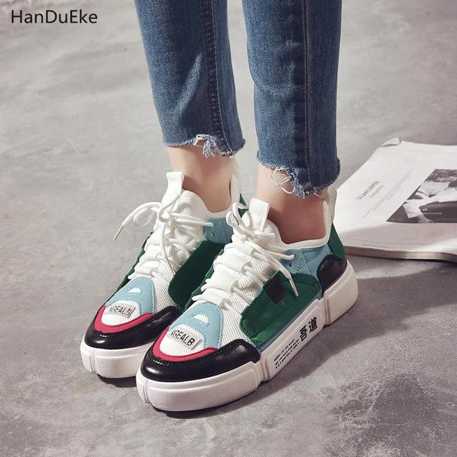 7bb4721f68eb95 2018 summer new Korean version thick bottom comfortable female canvas  Women s Shoe flat light luxury breathabletidesneakers