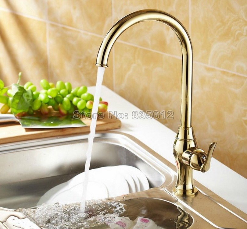 Luxury Gold Color Brass Gooseneck Style Swivel Spout Kitchen Sink Faucet Single Handle Basin Mixer tap Wsf075 free shipping high quality chrome brass kitchen faucet single handle sink mixer tap pull put sprayer swivel spout faucet