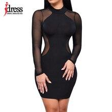 Hambelela IDress Women O-Neck Long Sleeve Key Hole Back Mini Sexy Bodycon  Dress Club 2369f7374493