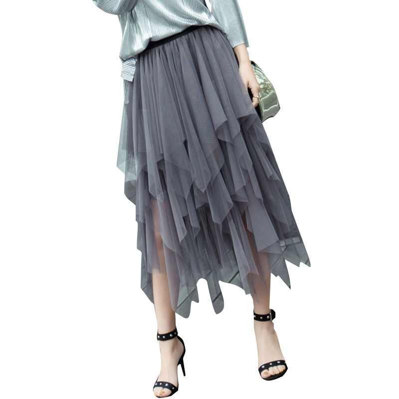 f3c2af5de01 Jielur осень мода шифон женская юбка сетки сплошной цвет Bouffant Пышные  юбки для женщин Нерегулярные Сексуальные