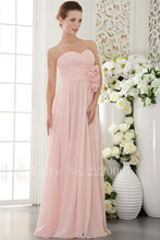 Lovely Sweetheart Bridesmaid Dress Floor Length Prom Gown Chiffon Cheap Wedding Dress Flowers A Line Backless Bridesmaid Dresses
