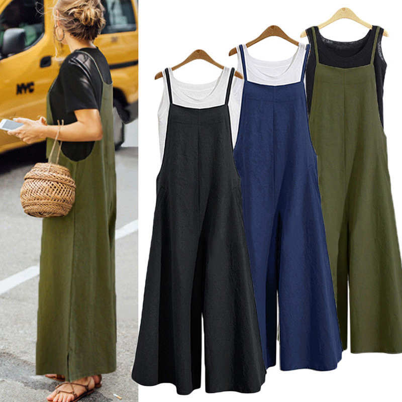 Plus Size 2019 Women Cotton Linen   Jumpsuit   Pocket Long Wide Leg Romper Strappy Dungaree Bib Solid Casual Loose Overalls Trousers