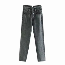 Slim Pencil Pants Vintage Spring Jeans Womens Retro Full Length Single-breasted Casual Loose Black Washed Cowboy