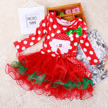 SQ213 2015 new Christmas girl dress red long-sleeved autumn dress dot baby clothes cotton Christmas party costume kids clothes