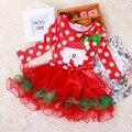 SQ213 2015 novo vestido da menina de Natal vermelho longo-vestido de mangas compridas outono dot festa de Natal do traje do bebê roupas de algodão crianças roupas