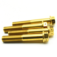 Titanium bolts M10 70mm DIY MTB Gold color Dual Drive Hollow Flange Head Outer Hexagon Grade 5 Ti screws Ti fastener