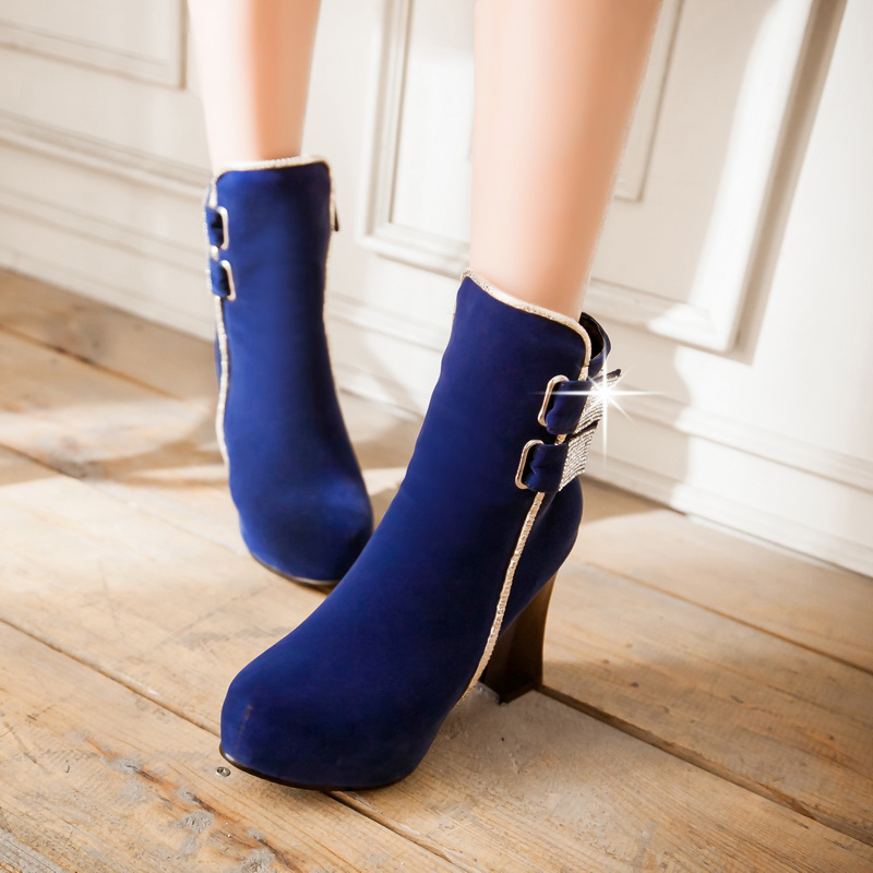 Plus Size High Heels Navy Blue Ankle Boots Women Buckle Booties ...