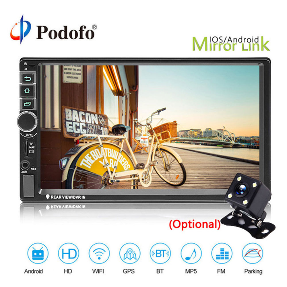 Podofo 7'' 2din Car Radio Multimedia Player Android Universal GPS Radio MP5 Stereo Audio Player Autoradio Bluetooth Mirrorlink
