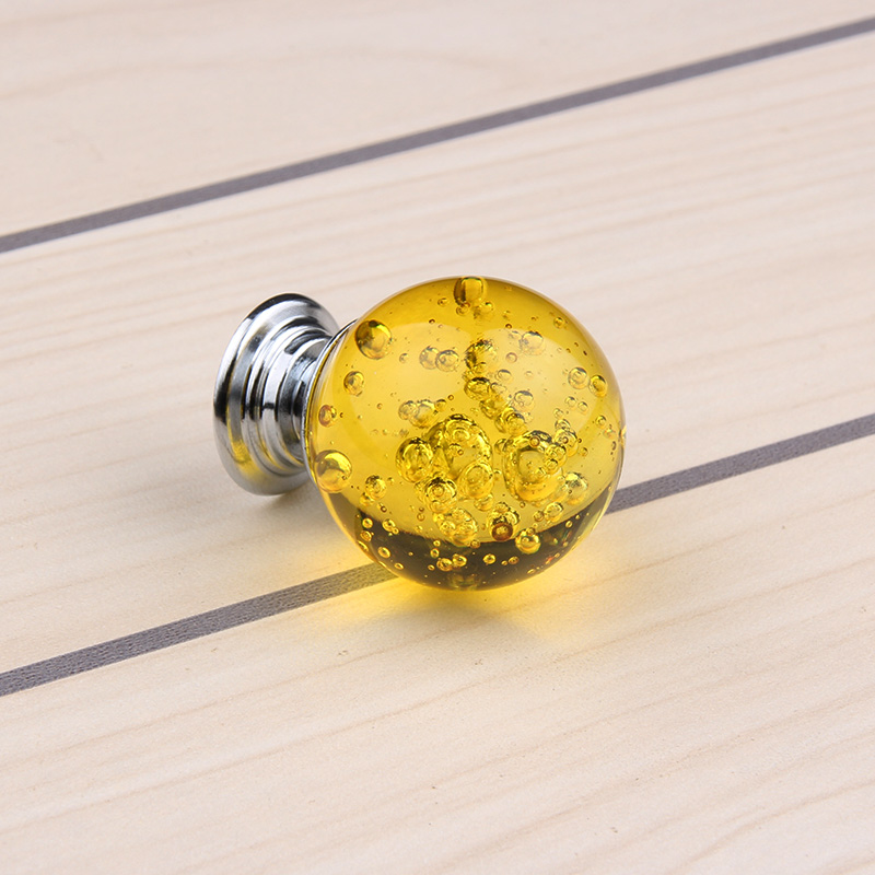 2018 Puxadores Yellow 30mm 10pcs Crystal Glass Clear Cupboard Door Drawer Knobs Bubble Ball Shape Cabinet Kitchen Pull Handle