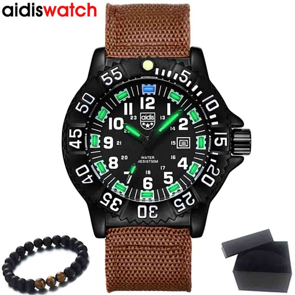 цена на Men Watches Fashion Nylon Canvas Fabric Strap Military Army Green Watch For Men Male Quartz Wristwatch Aidis Luxury Brand Watch