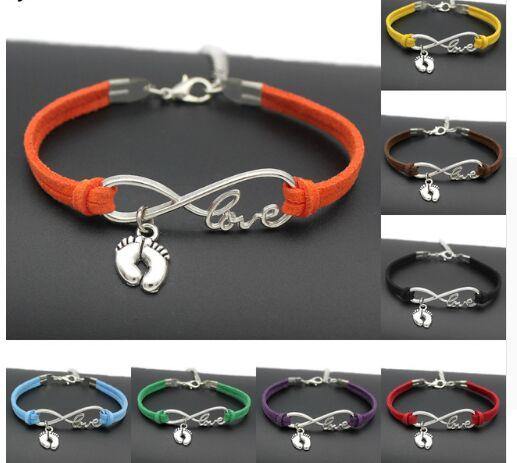 1pcs Infinity Handmade Women Stylish  Love Baby Little Feet Charms Bracelets Baby Footprin Pendant Bracelet 7445-7454