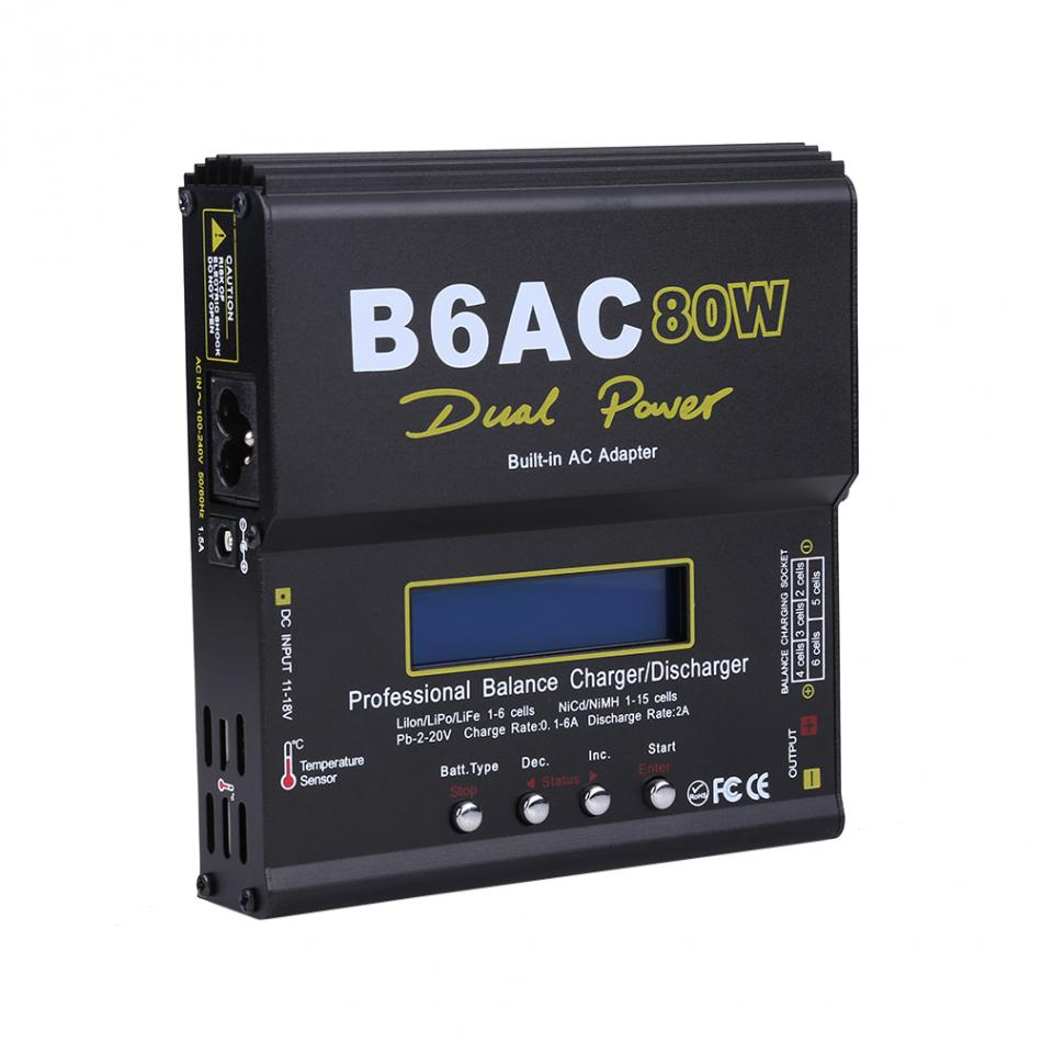 1pcs RC Multi Battery Charger 80W DC AC Dual Charger Discharger for LiPo LiFe Lilon NiCd