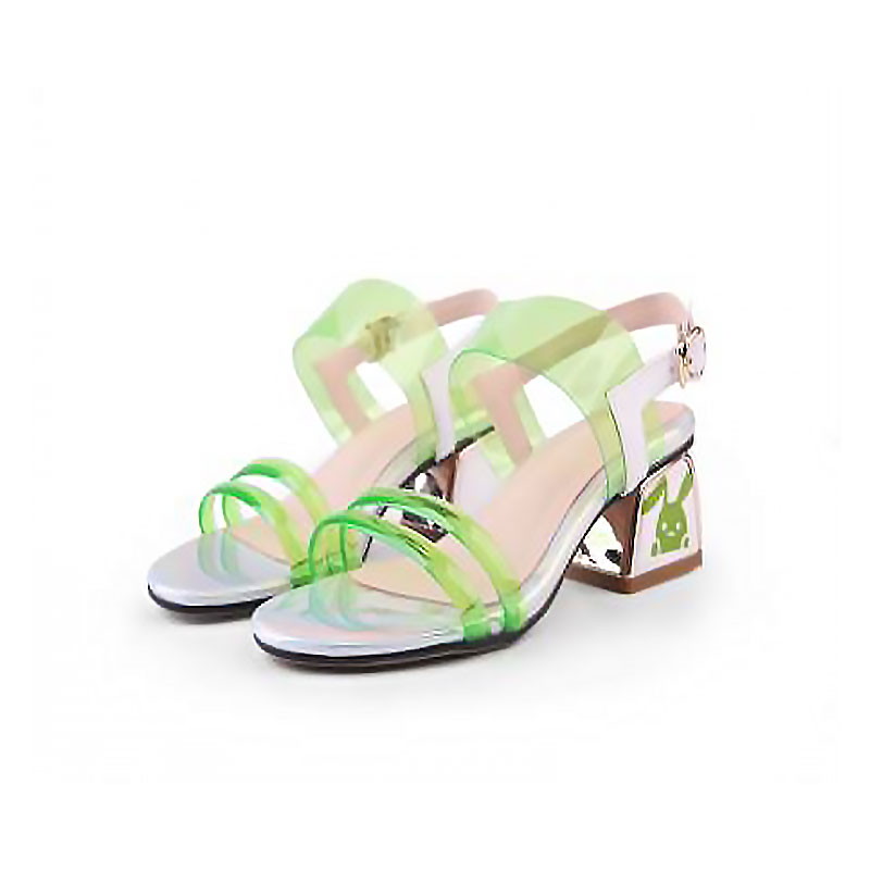 2019 summer new leather open-toe matching color simple jelly thick heel light green sandals womens summer2019 summer new leather open-toe matching color simple jelly thick heel light green sandals womens summer
