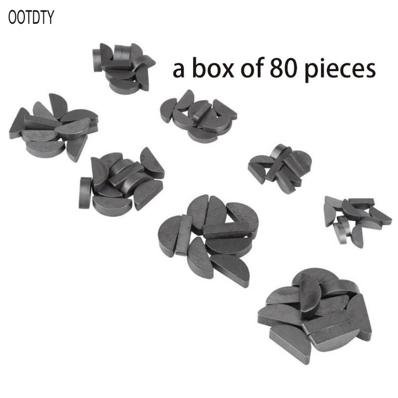 80pcs Stainless Steel Key Assortment Set Metric Half Moon Shaft Drive Fasteners Mechanical Industry Different Sizes