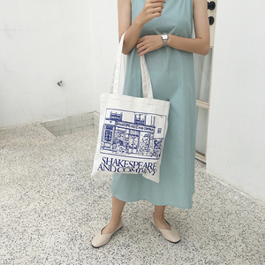 Image 5 - Youda Simple Ladies Canvas Bag Casual Large Capacity Printing Handbag Fashion Shoulder Bags Recycling Shopping Tote Pouch