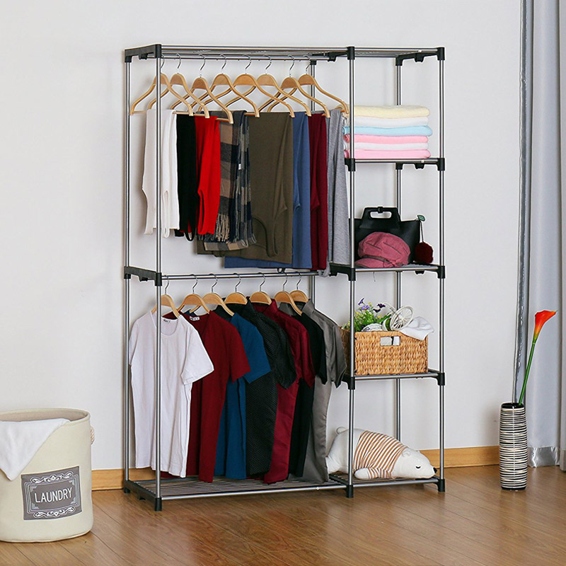 Incroyable YOUUD Double Rod Closet Portable Wardrobe Storage Organizer Free Standing  Sliver Garment Rack With Metal Tubes And Resin Frame On Aliexpress.com |  Alibaba ...