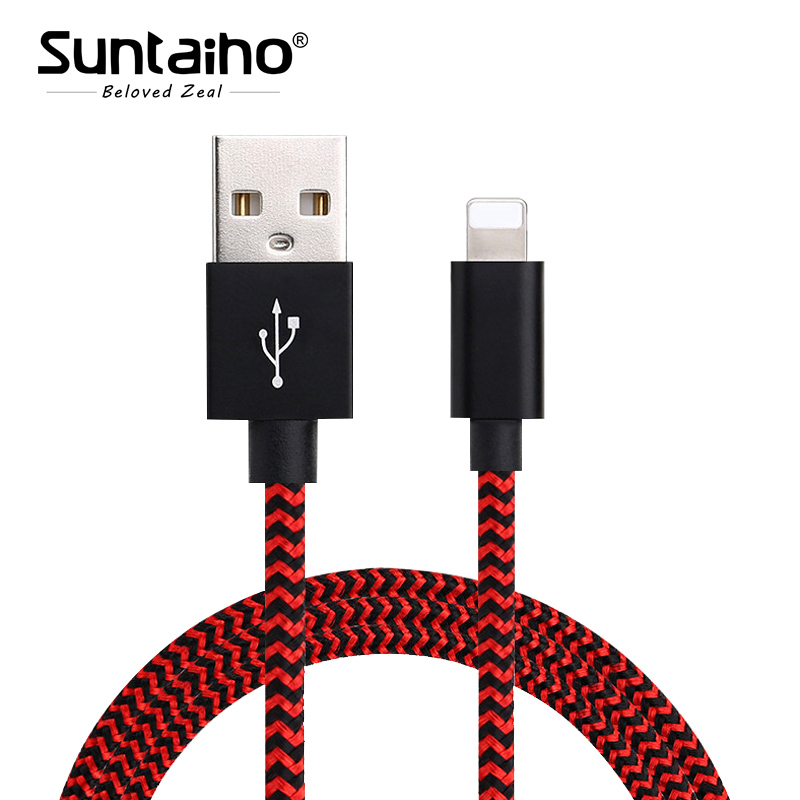Suntaiho usb cable for iphone cable for iphone x USB Nylon Data Cable Fast Charging for iPhone 8 Plus 6s plus iPhone 5s charger