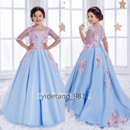 A-Line Half-Sleeve Flower Girl's Dresses Sky Blue Appliques Birthday Party Gowns blue sky чаша северный олень
