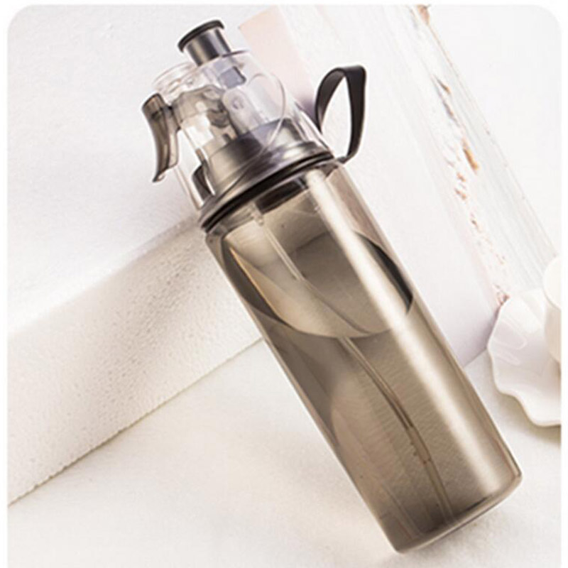 Creative Button Mist Spray Bottle 420ML Portable Atomizing Professional Sports Leakproof Dual use Bottle Water Bottle